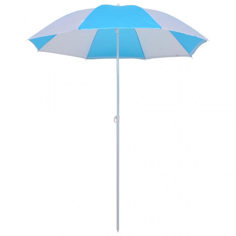 Strandschirm Blau und Weiß 180 cm Stoff