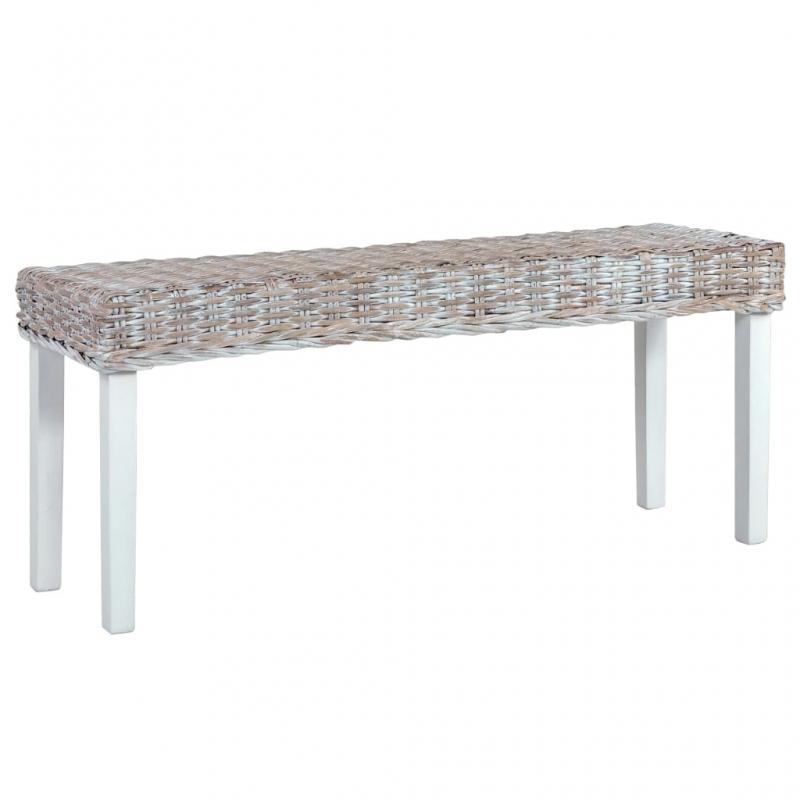 Sitzbank 110 cm Weiß Natur Kubu-Rattan und Massivholz Mango