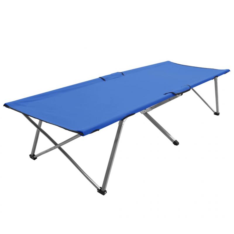Campingbett 206 x 75 x 45 cm XXL Blau