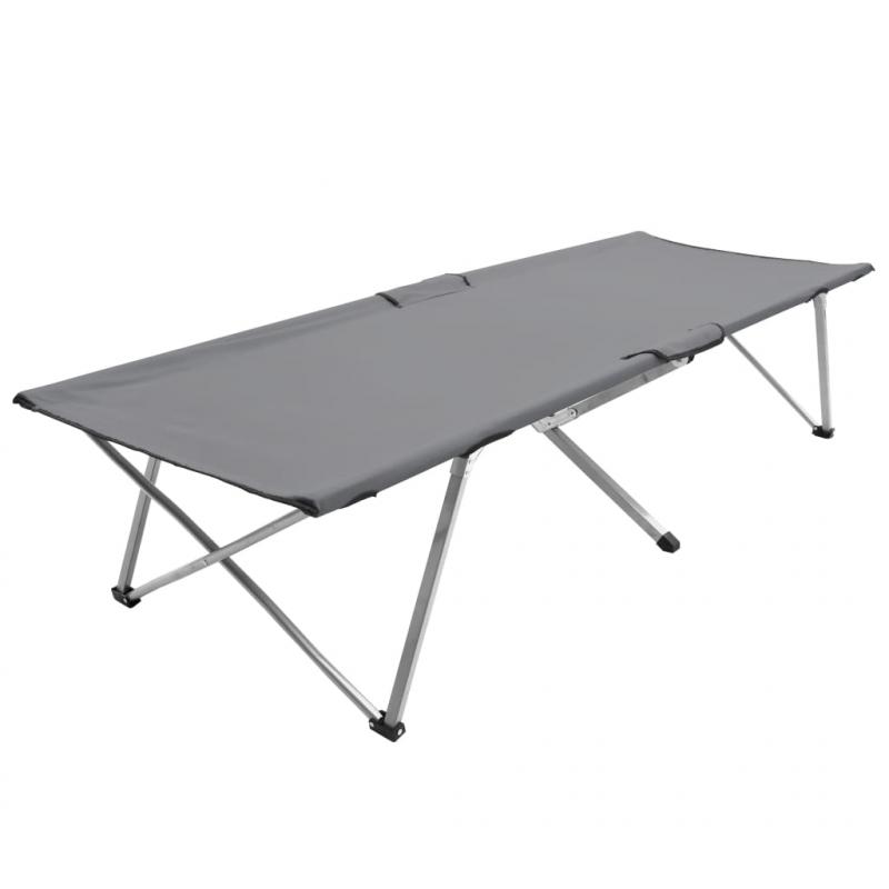 Campingbett 206 x 75 x 45 cm XXL Grau