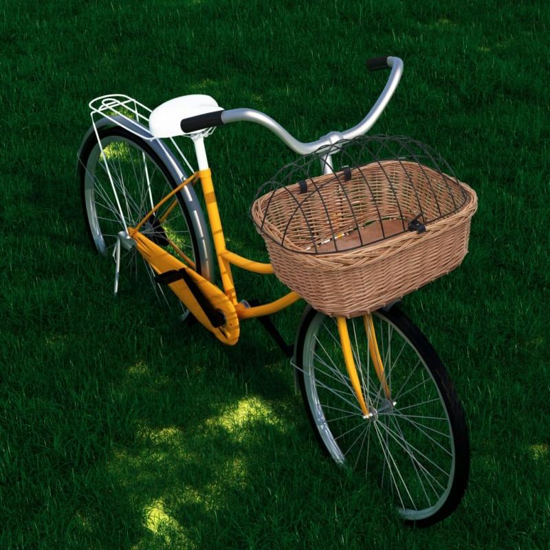 Fahrrad-Frontkorb mit Deckel 50×45×35 cm Naturweide