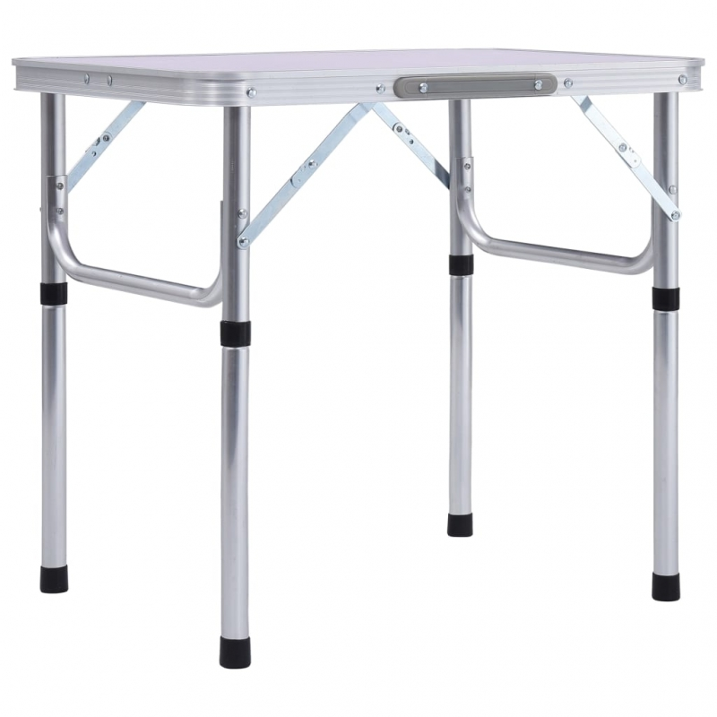 Klappbarer Campingtisch Weiß Aluminium 60 x 45 cm