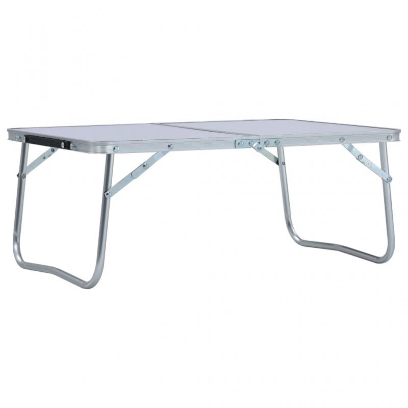 Klappbarer Campingtisch Weiß Aluminium 60 x 40 cm
