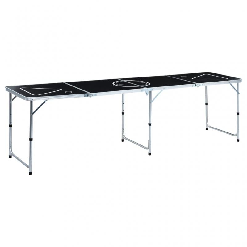 Klappbarer Bier-Pong-Tisch 240 cm Schwarz