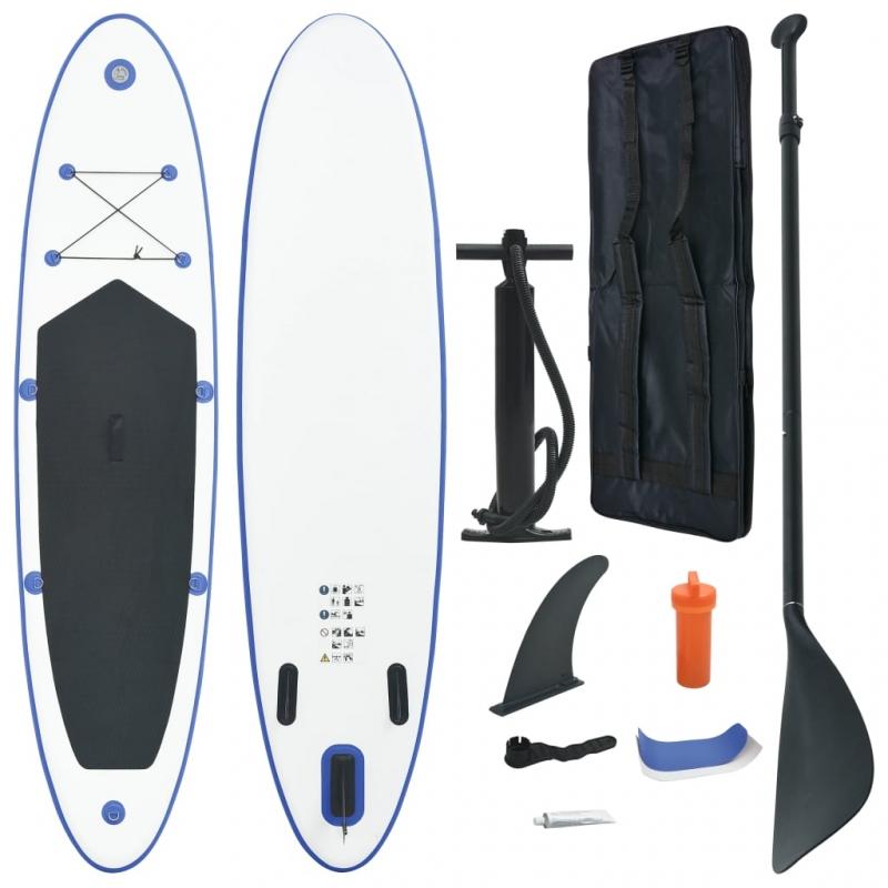 Stand Up Paddle Surfboard SUP Aufblasbar Blau und Weiß