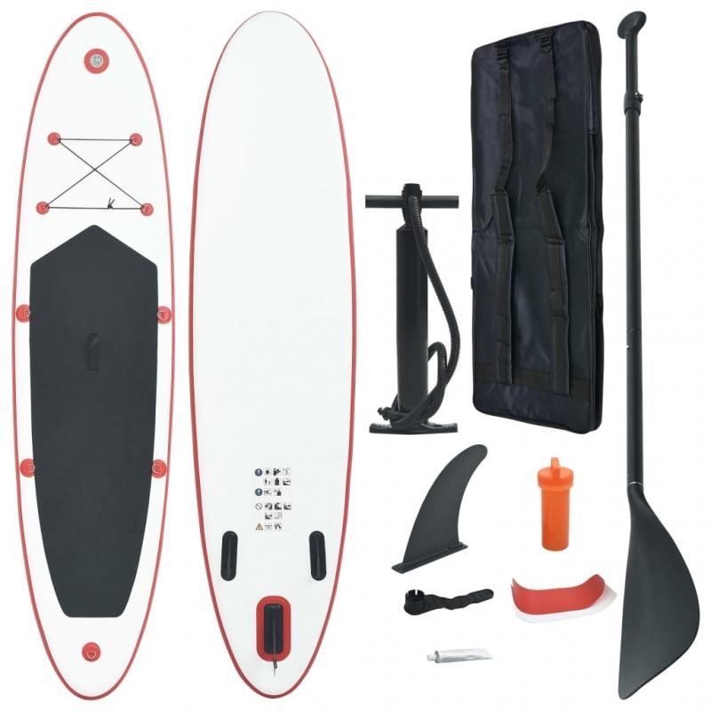 Stand Up Paddle Surfboard SUP Aufblasbar Rot und Weiß