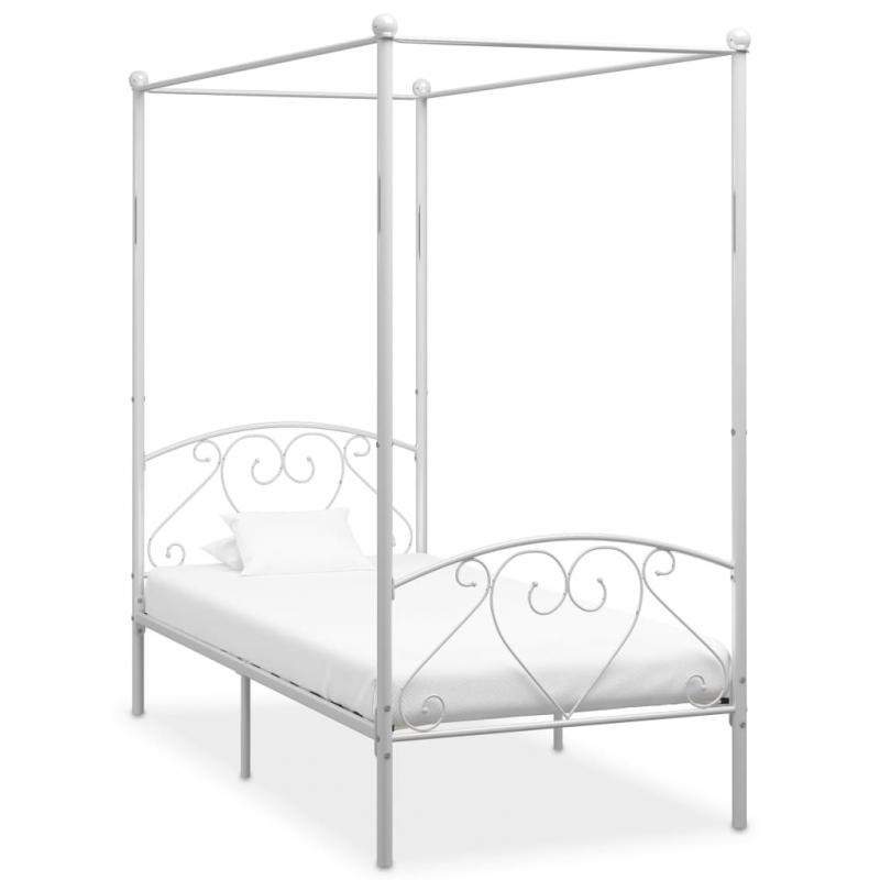 Himmelbett-Gestell Weiß Metall 120 x 200 cm