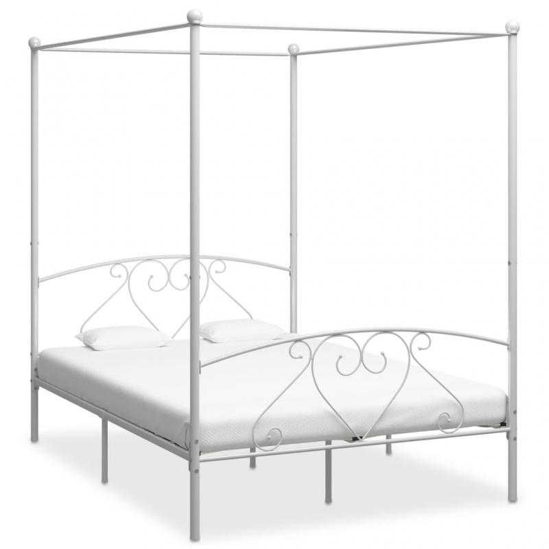Himmelbett-Gestell Weiß Metall 140 x 200 cm