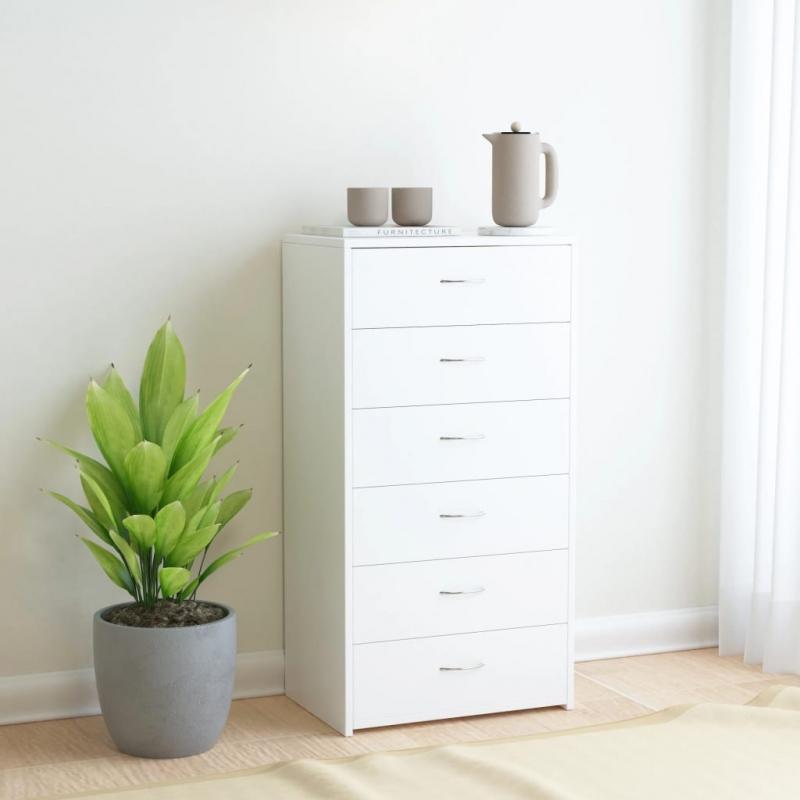 Sideboard mit 6 Schubladen Weiß 50 x 34 x 96 cm Spanplatte