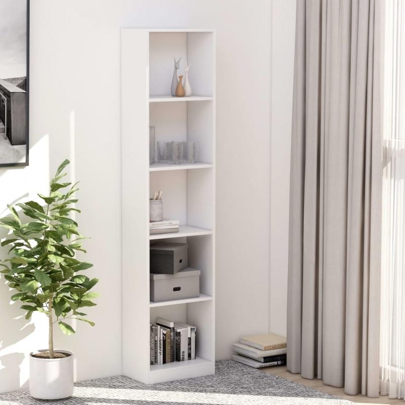 Bücherregal 5 Fächer Weiß 40×24×175 cm Spanplatte