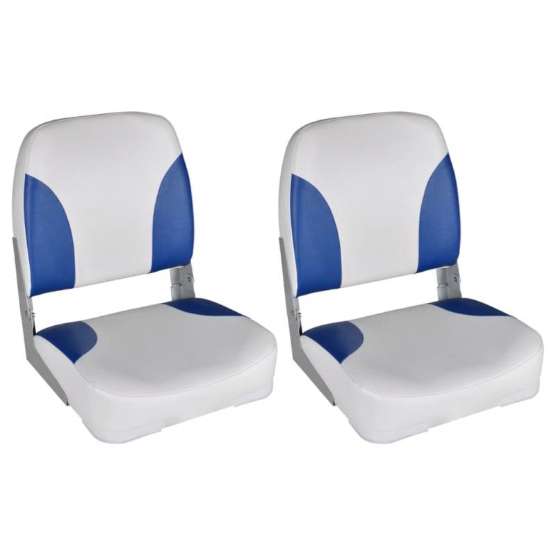 Bootssitze 2 Stk. Klappbare Rückenlehne Mit Blau-Weißem Kissen