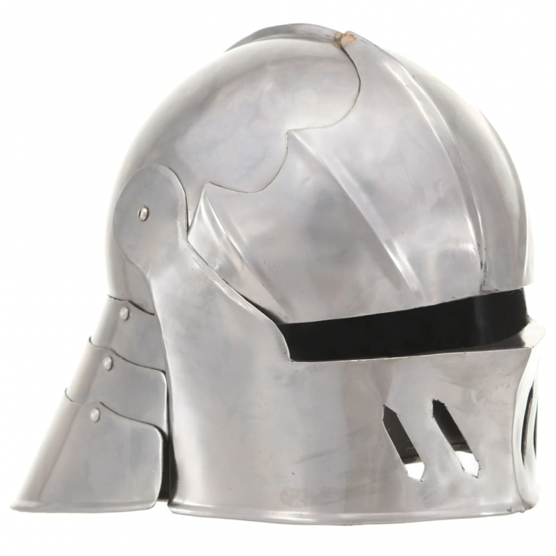 Mittelalterlicher Ritterhelm Antik Replik LARP Silbern Stahl