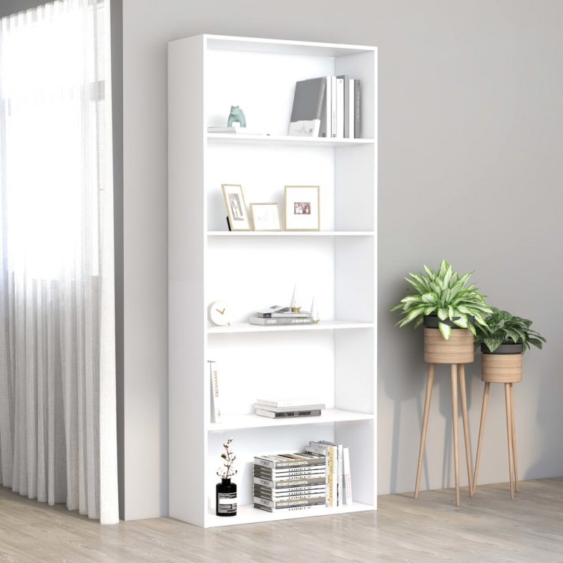 Bücherregal 5 Fächer Weiß 80 x 30 x 189 cm Spanplatte