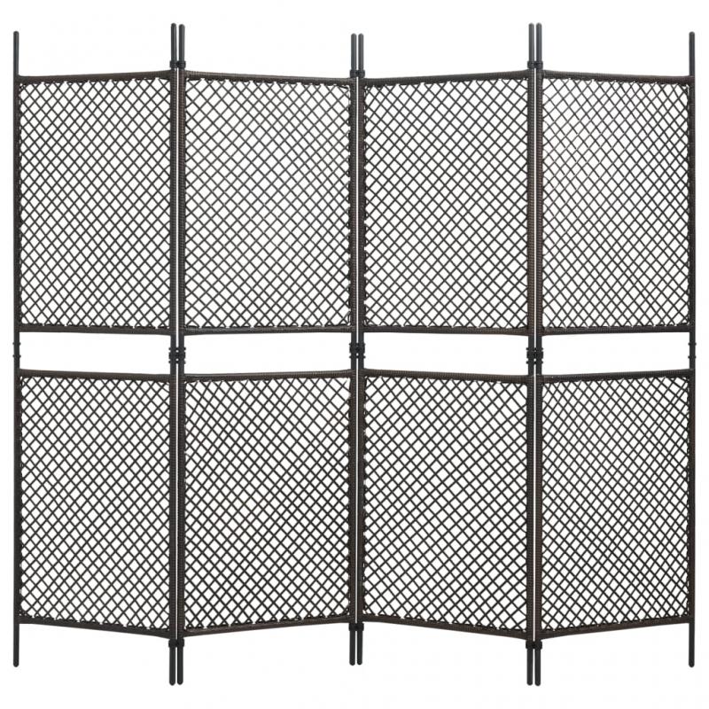 4-tlg. Raumteiler Poly Rattan Braun 240 x 200 cm