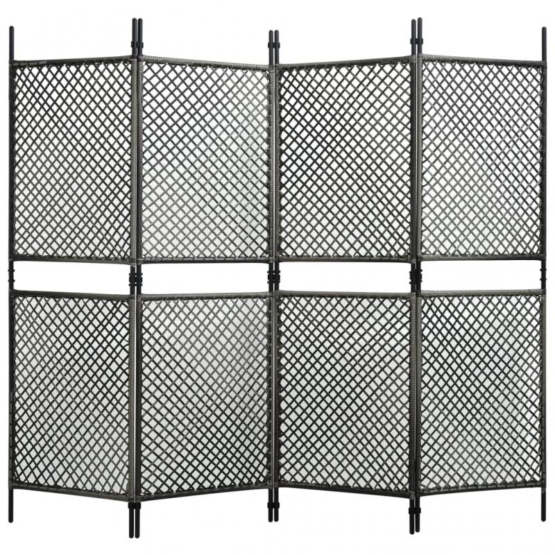 4-tlg. Raumteiler Poly Rattan Anthrazit 240 x 200 cm
