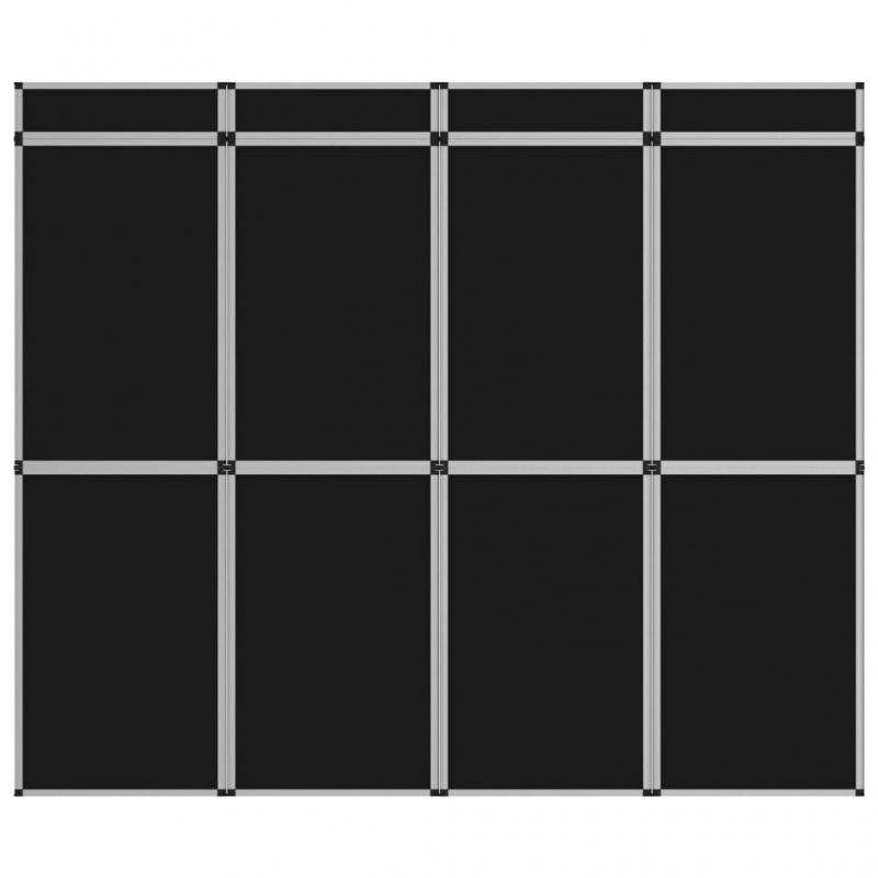 12-Panel Messewand Faltdisplay 242×200 cm Schwarz