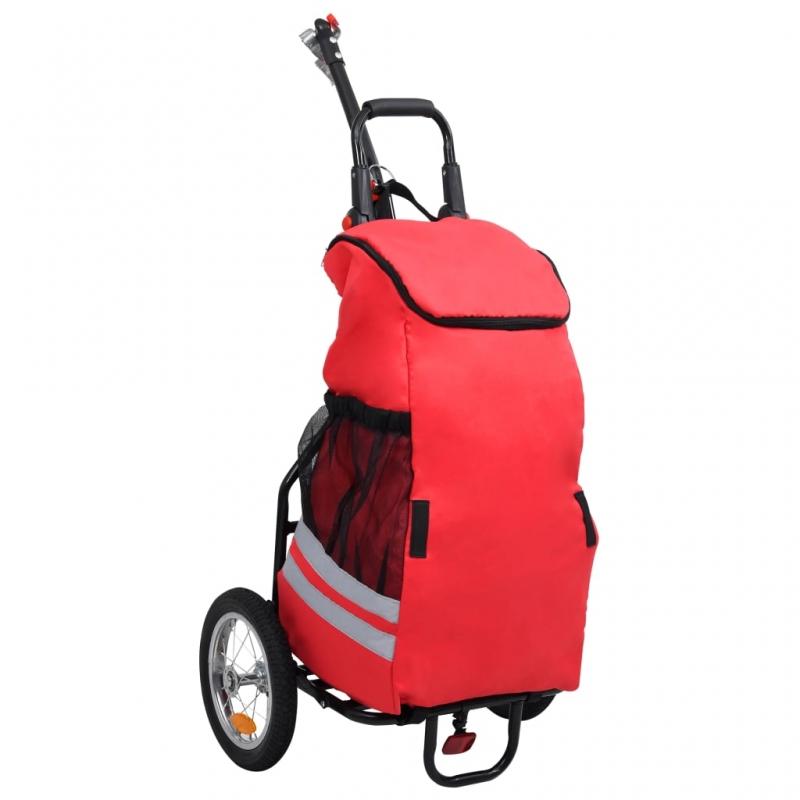 Cargo-Fahrradanhänger mit Einkaufstasche Klappbar Rot Schwarz