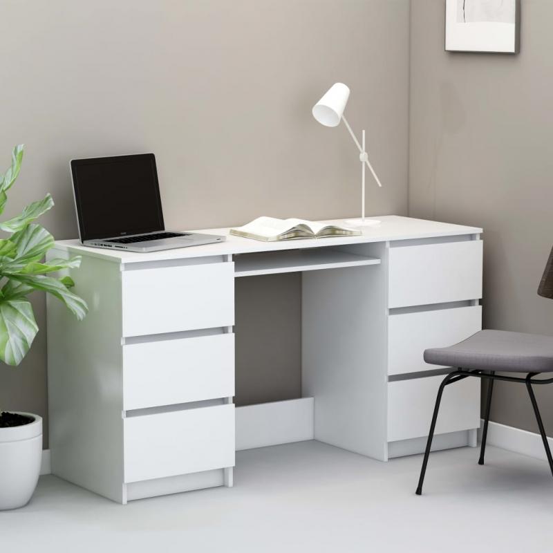 Schreibtisch Weiß 140×50×77 cm Spanplatte