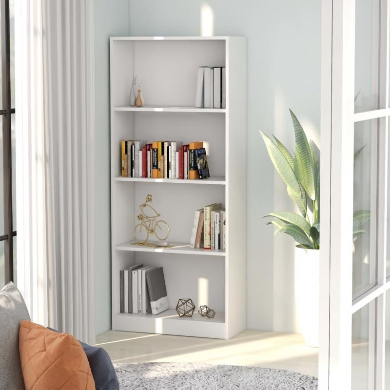 Bücherregal 4 Fächer Weiß 60 x 24 x 142 cm Spanplatte