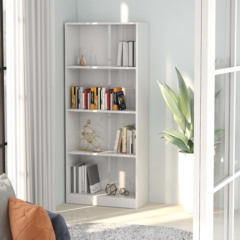 Bücherregal 4 Fächer Hochglanz-Weiß 60 x 24 x 142 cm Spanplatte