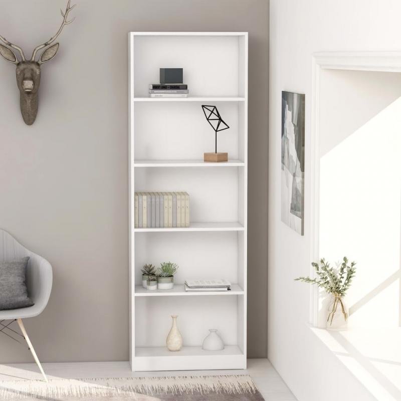 Bücherregal 5 Fächer Weiß 60 x 24 x 175 cm Spanplatte