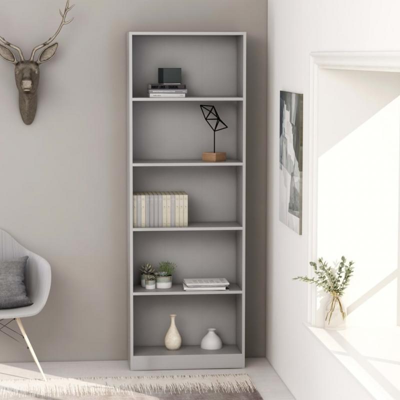 Bücherregal 5 Fächer Grau 60 x 24 x 175 cm Spanplatte