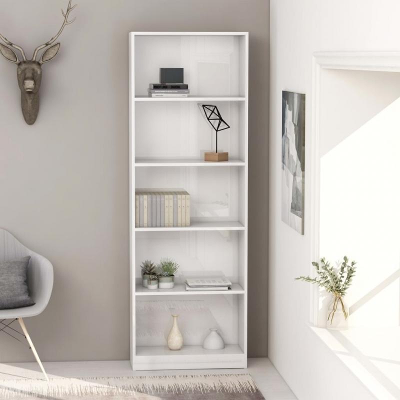 Bücherregal 5 Fächer Hochglanz-Weiß 60 x 24 x 175 cm Spanplatte