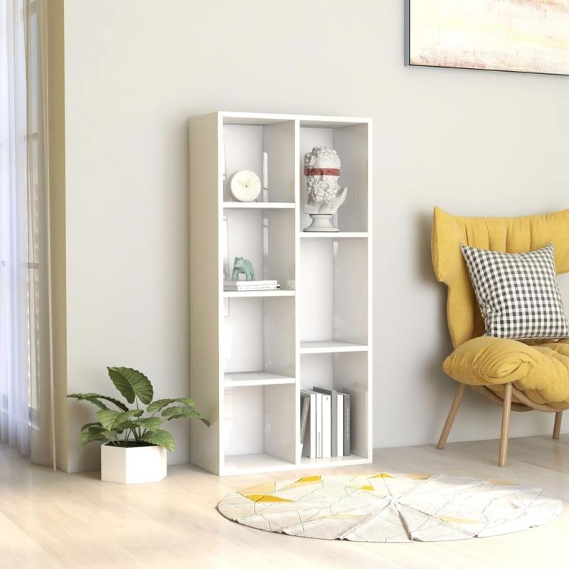 Bücherregal Hochglanz-Weiß 50×25×106 cm Spanplatte