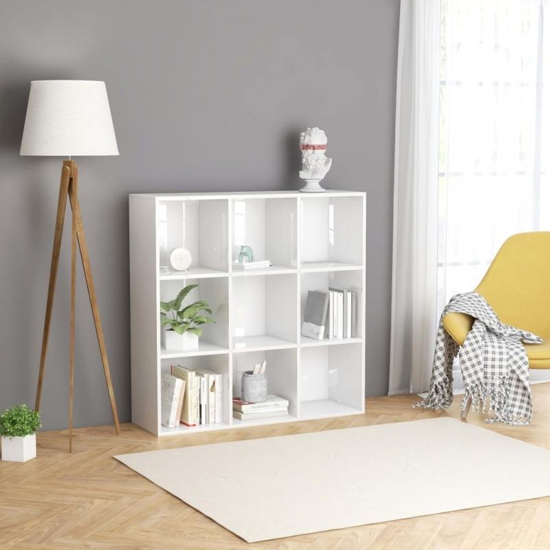 Bücherregal Hochglanz-Weiß 98 x 30 x 98 cm Spanplatte
