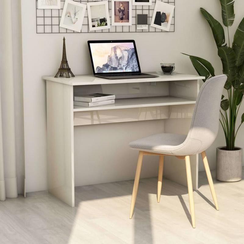 Schreibtisch Hochglanz-Weiß 90×50×74 cm Spanplatte