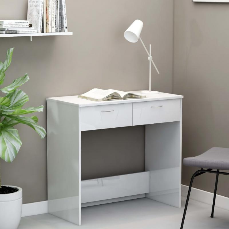 Schreibtisch Hochglanz-Weiß 80×40×75 cm Spanplatte