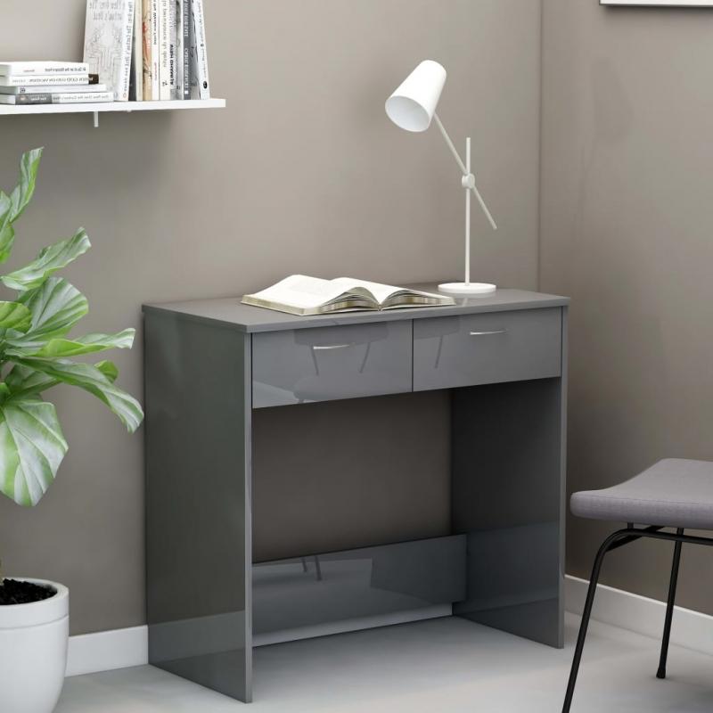 Schreibtisch Hochglanz-Grau 80×40×75 cm Spanplatte