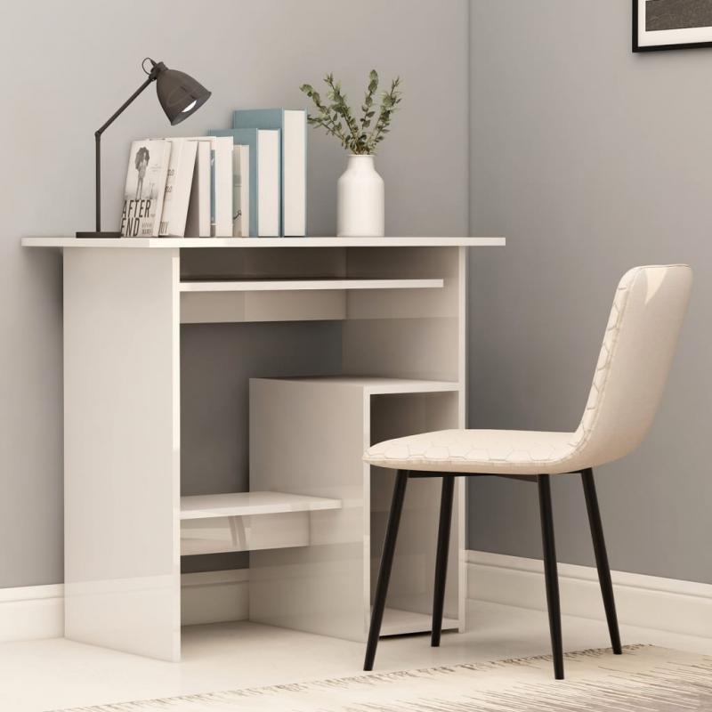 Schreibtisch Hochglanz-Weiß 80 x 45 x 74 cm Spanplatte