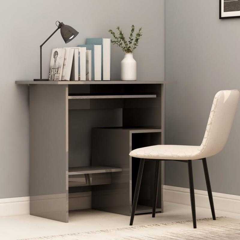 Schreibtisch Hochglanz-Grau 80 x 45 x 74 cm Spanplatte