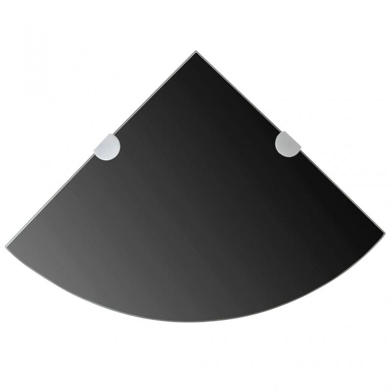 Eckregale 2 Stk. Verchromte Halterungen Glas Schwarz 35x35cm