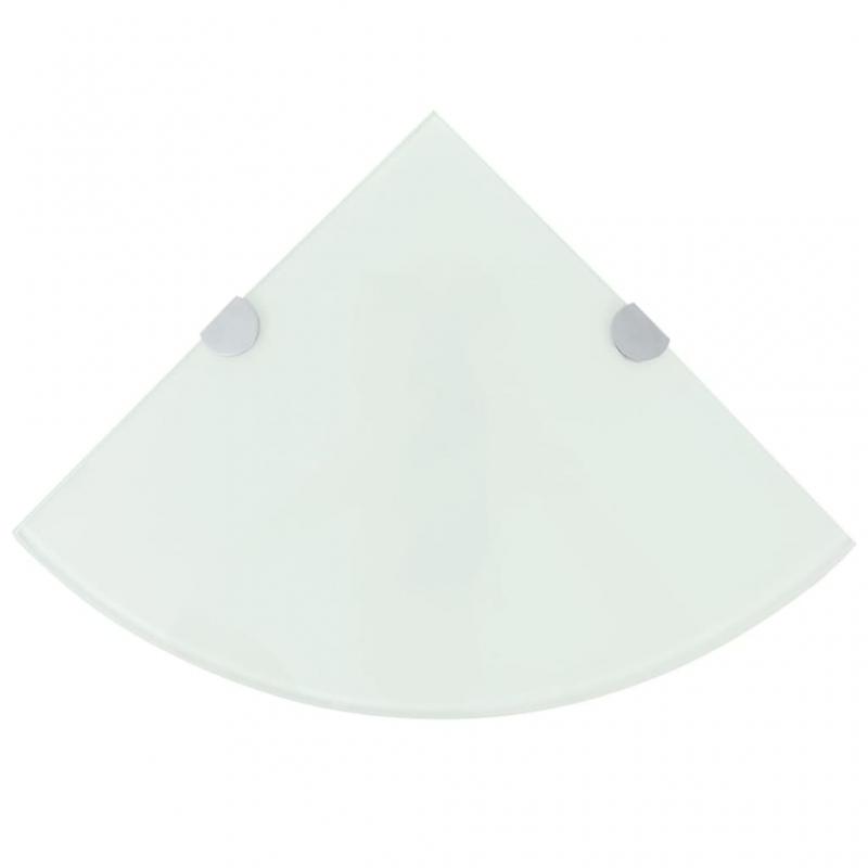 Eckregale 2 Stk. mit verchromten Halterungen Glas Weiß 25x25cm