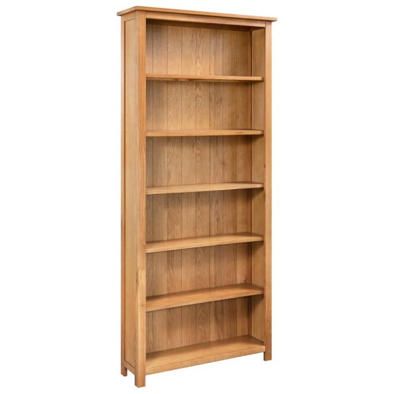 Bücherregal 6 Fächer 80×22,5×170 cm Massivholz Eiche