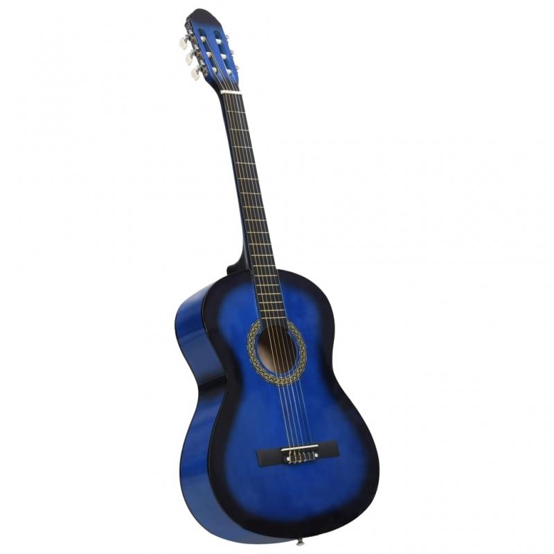 Klassikgitarre für Anfänger Blau 4/4 39 Lindenholz