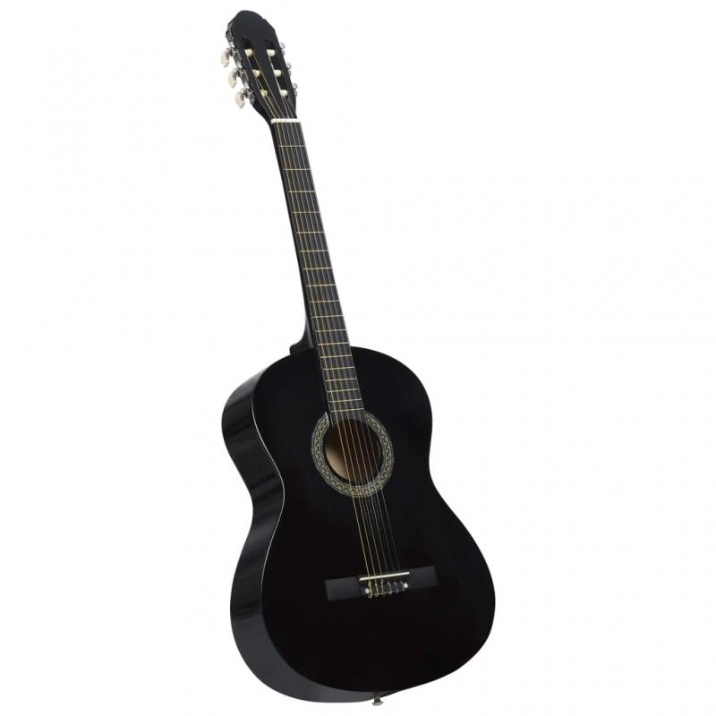 Klassikgitarre für Anfänger Schwarz 4/4 39 Lindenholz