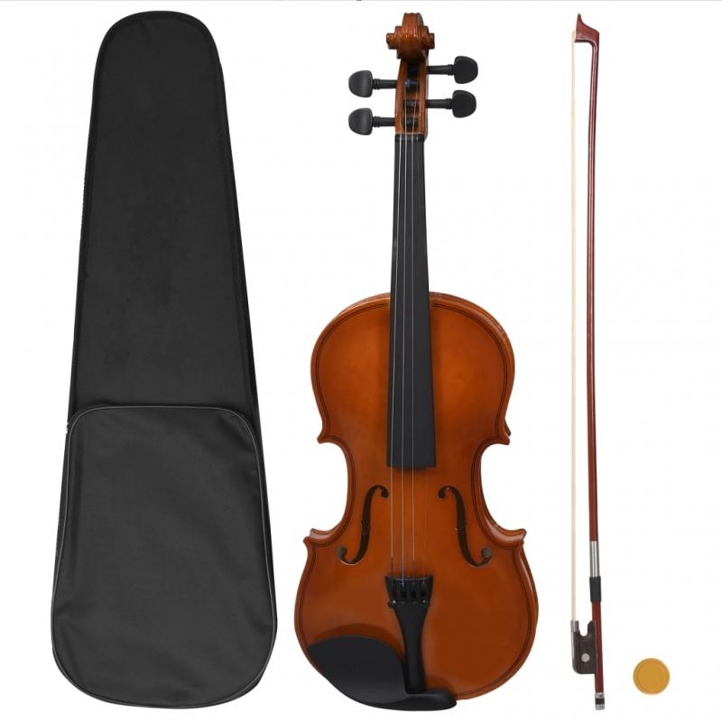 Violine Komplettset mit Bogen und Kinnstütze Dunkles Holz 4/4
