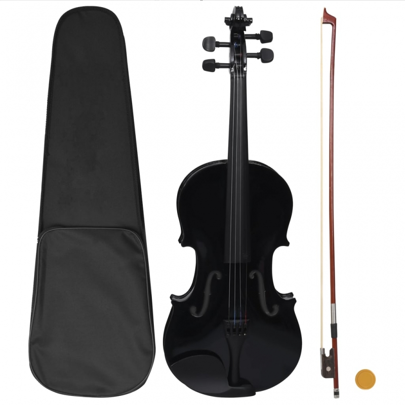 Violine Komplettset mit Bogen und Kinnstütze Schwarz 4/4