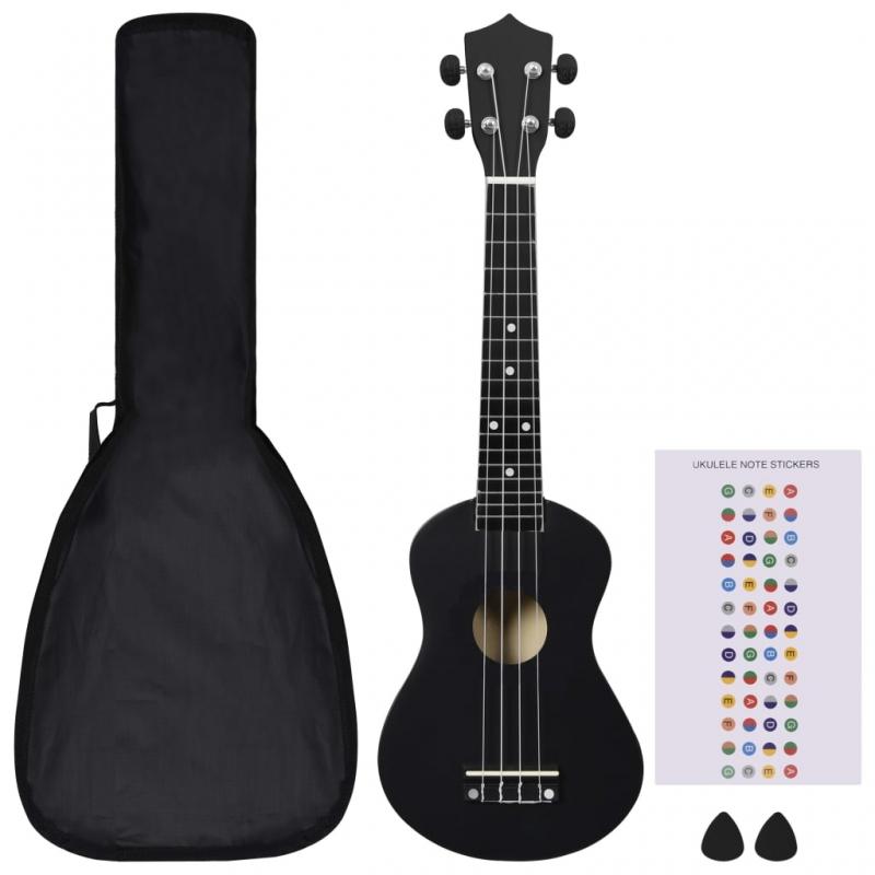 Sopran-Ukulele-Set mit Tasche für Kinder Schwarz 23
