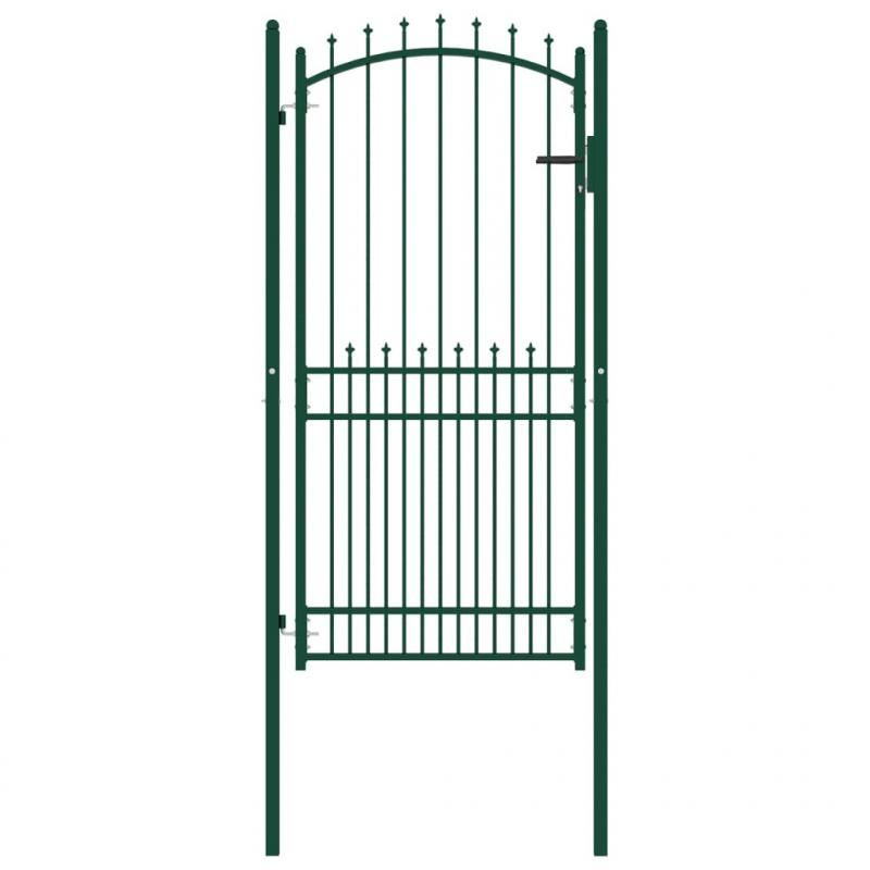 Zauntor mit Spitzen Stahl 100x200 cm Grün