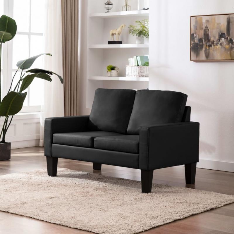 2-Sitzer-Sofa Schwarz Kunstleder