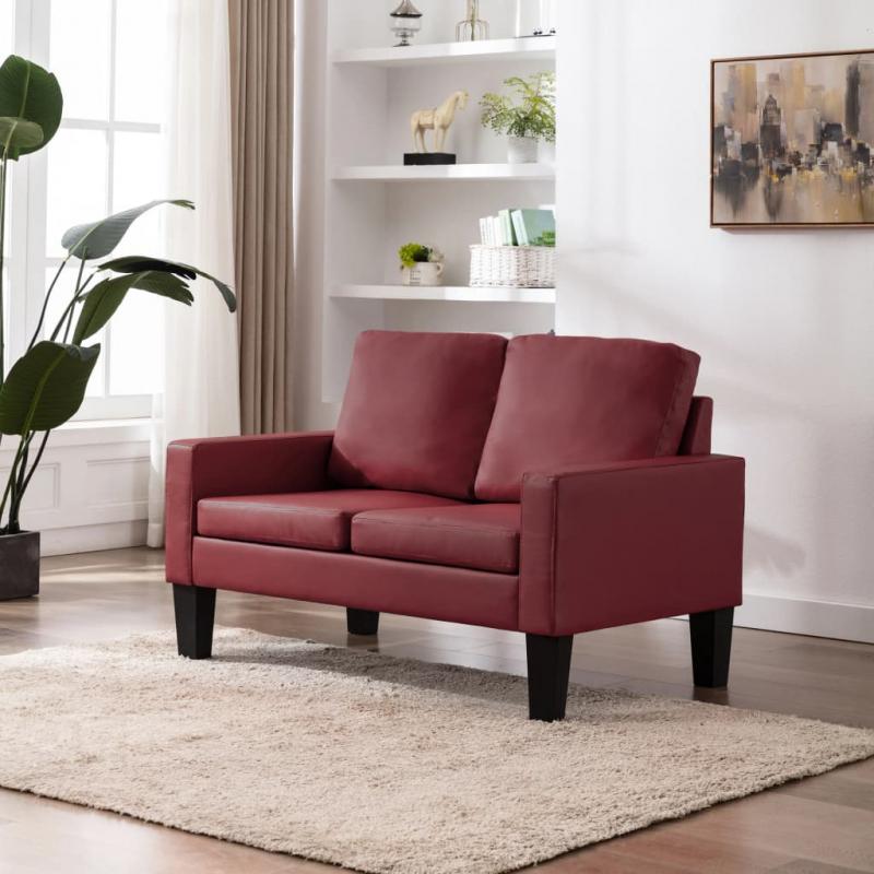2-Sitzer-Sofa Weinrot Kunstleder