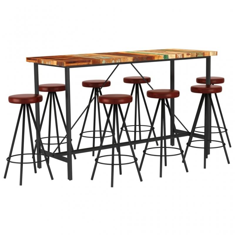 9-tlg. Bar-Set Recyceltes Massivholz und Echtleder