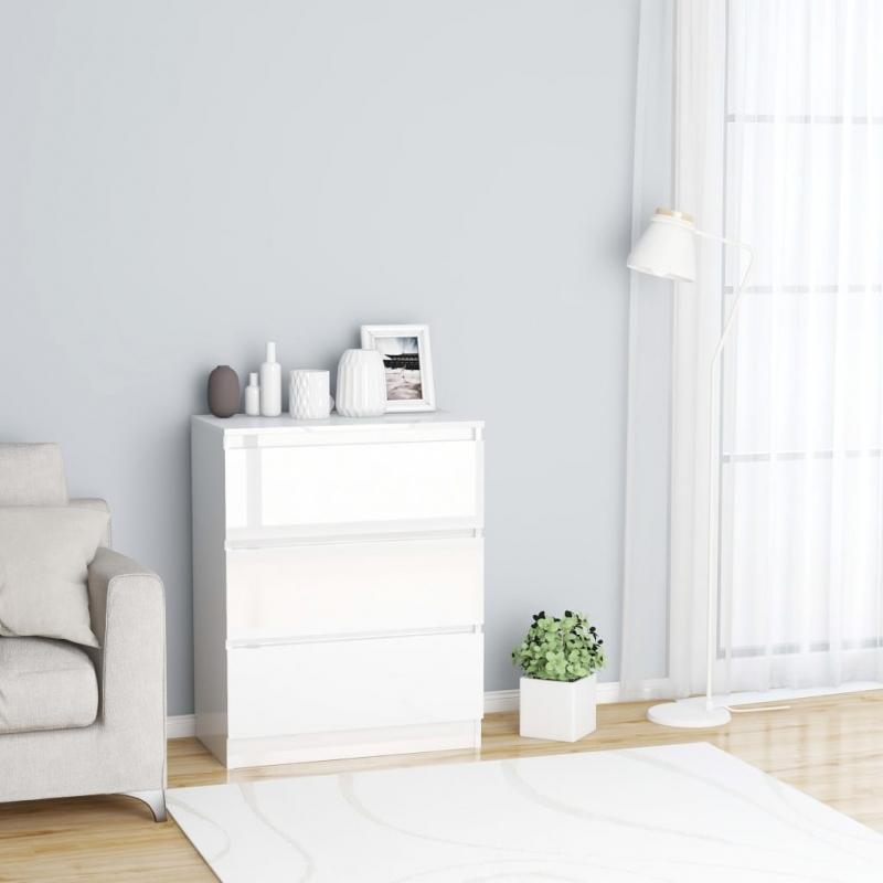 Sideboard Hochglanz-Weiß 60×35×76 cm Spanplatte