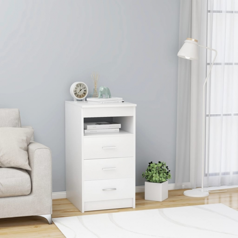 Sideboard mit Schubladen Weiß 40×50×76 cm Spanplatte