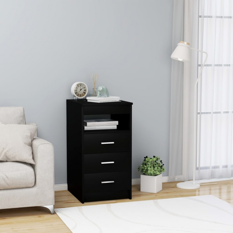 Sideboard mit Schubladen Schwarz 40×50×76 cm Spanplatte
