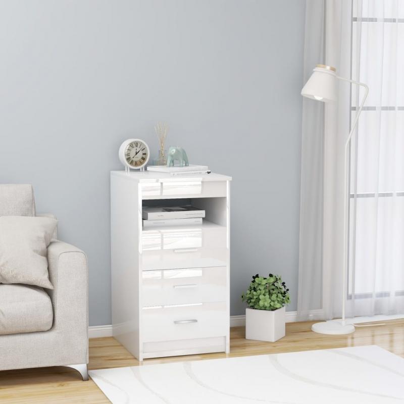 Sideboard mit Schubladen Hochglanz-Weiß 40×50×76 cm Spanplatte